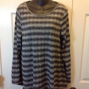 NWOT Black Grey White Stripe Women's Sweater Large